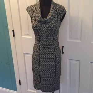 Flattering WHBM black and white knit dress
